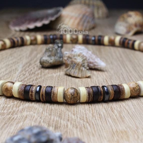 Men/men's surfer/surf style necklace beads Ø 8 mm natural Jasper/Jasper Picasso wood coconut/coconut Ø 8 mm P211