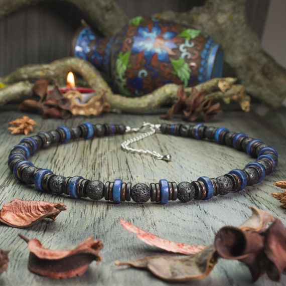 Gorgeous necklace man beads natural stones lapis lazuli Ø10mm, lava volcanic wood coconut/Coco Ø8mm handmade creation 1000ola