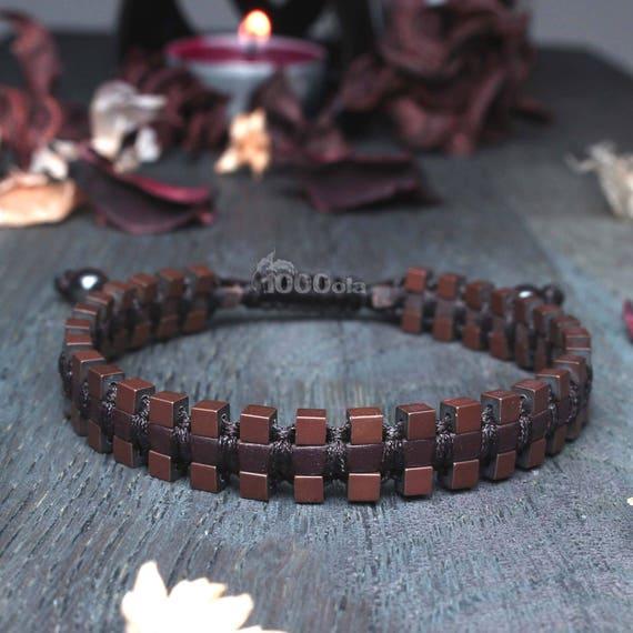 Sublime bracelet Brown man/men's genuine leather beads Hematite matte aspect cube 3mm Faiy hand-Maide in France P222