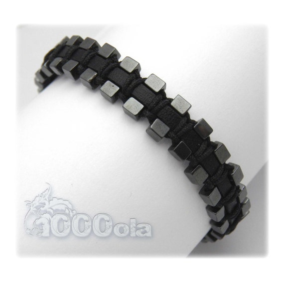 Bracelet black men/men's genuine leather beads Hematite cube 3mm
