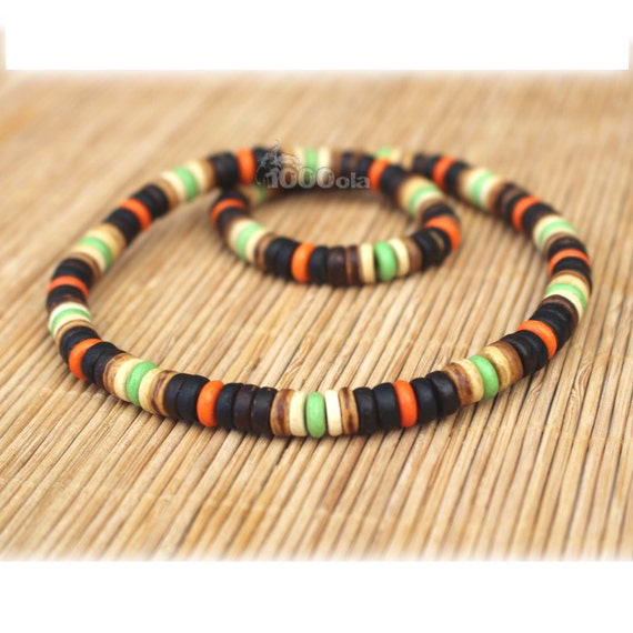 Male/female surfer/surf style necklace beads stone natural howlite Orange green wooden coconut/coconut Ø 8 mm d76