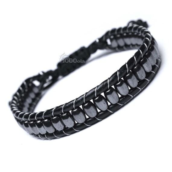 Black bracelet men/men's genuine leather black oval beads natural stone Hematite 6x4mm P122