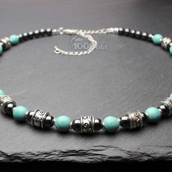 Beautiful jewelry high quality man made stones necklace natural Howlite turquoise 8mm hematite 6mm metal