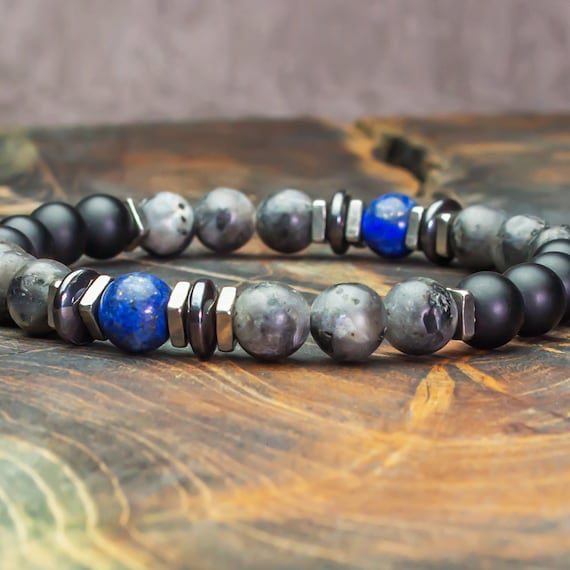 Men's/Female Bracelet Pearls 8mm Natural Stones Lapis Lazuli Labradorite Agate Matte Grey/onyx Black Hematite Stainless Steel Made in France