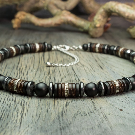 Necklace man beads Ø8mm natural Agate stone black matte Hematite coconut wood beads look Antique COLLIDACK18 silver color metal