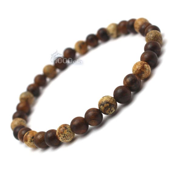 Men's/female bracelet natural pearls Huanghuali brown wood '6mm, natural stone Picasso Jasper P85