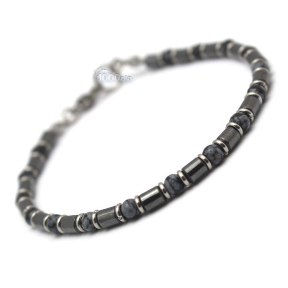 New BRACELET men and women pearls 4 mm stone natural obsidian black hematite rings Metal carabiner clasp stainless/inox P90