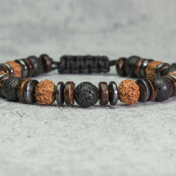 Bracelet Men's Tibetan style beads 8mm stones Volcanic lava black Hematite Wood seeds Rudraksha Cocotier/coco Made in France 1000ola