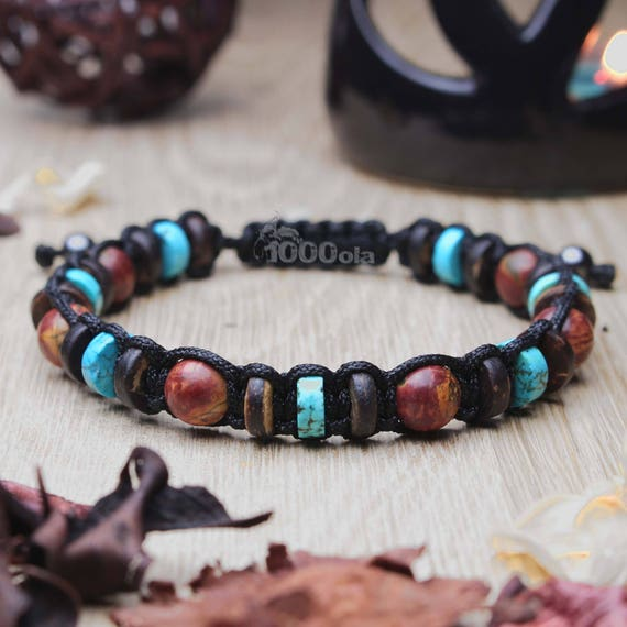 Bracelet men/men's beads 8mm stone Jaspe Picasso stabilized turquoise wood Coco/Cocotier Hematite made in France