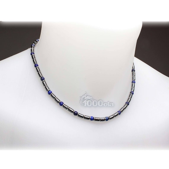 Beautiful jewelry necklace stones man high-end natural Lapis Lazuli blue 4mm hematite metal stainless steel