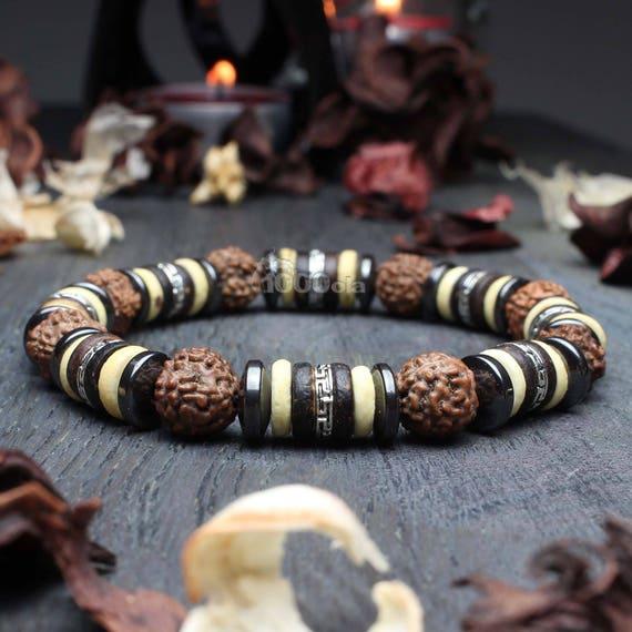 Beautiful Bracelet Men's Pearls Rudraksha Seeds, Coconut Wood/Coco 8mm Hematite beads metal silver color Antique Tibetan style