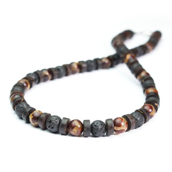 Beautiful man/Men's Necklace beads Ø 8 mm natural Agate pattern Tibetan Dzi lava volcanic wood coconut/coconut stainless steel