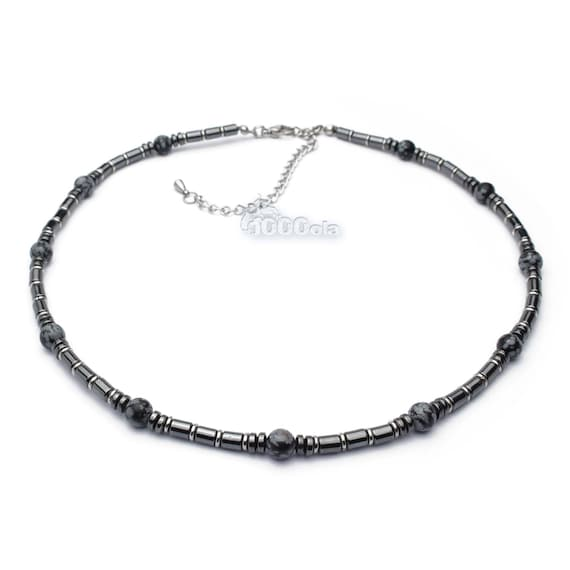 Beautiful jewelry high quality necklace man Obsidian natural stone Black 6mm hematite 4mm stainless steel metal