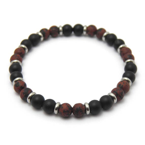 HommeiFemme matte black Onyx and Agate natural stone beads BRACELET + Brown Mahogany Obsidian 6mm + stainless Metal rings