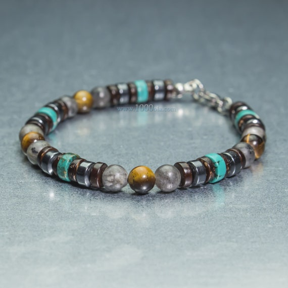 New BRACELET men/women 6mm beads natural stones eye Tiger turquoise Larvikite Labradorite Hematite wood Coco clasp stainless steel 1000ola