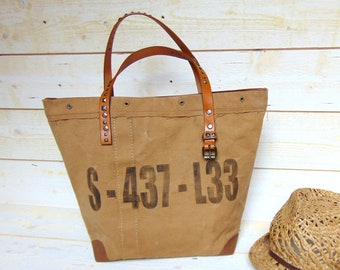 Tote bag recycled military canvas, dark Beige - canvas bag military brown - bag recycled by Pleasant Home made