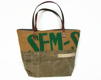 Tote bag in Burlap and recycled military canvas - in old canvas tote bag, P - H Storie by Pleasant Home collection