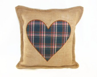 Pillow cover in Burlap and plaid fabric by the British style, by Pleasant Home burlap pillow cover