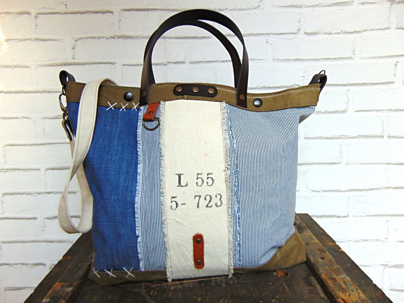 Old recycled canvas bag     denim and military canvas tote      958e4be3e