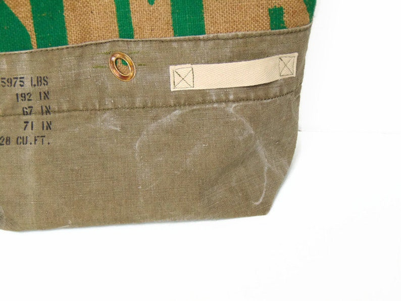 P Burlap and recycled military canvas tote bag   vintage women cotton bag and jute H Storie by Pleasant Home