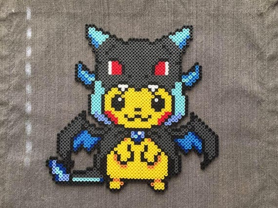 Pokémon: Mega Charizard X Pikachu Costume Perler Bead Pattern