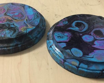 Abstract Acrylic Pour Wooden Drink Coasters, Home Decor