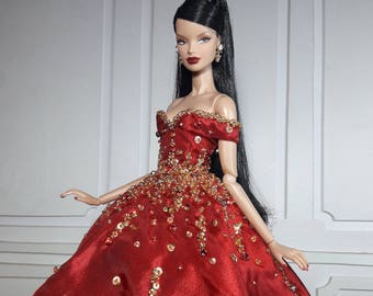"RED HOLIDAY - Look 3 - Fashion for Fr2, Barbie, Silkstone and same size 12"" doll"