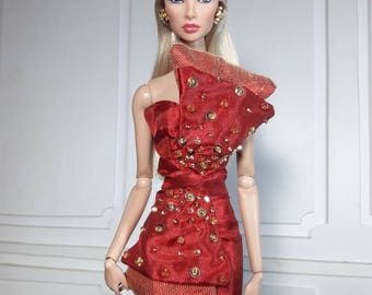"RED HOLIDAY - Look 2 - Fashion for Fr2, Barbie, Silkstone and same size 12"" doll"