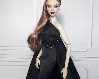 "LADY IN BLACK - Fashion for Fr2, Barbie, Silkstone and same size 12"" doll"