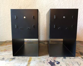 Pair Industrial Vintage Metal Magazine Holders Black,Industrial Office,  School Library
