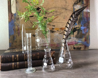 Vintage Lab Glass Collection, Vintage Pyrex Chemistry Set, Pyrex Beakers and Flasks, Collectible Lab Glass