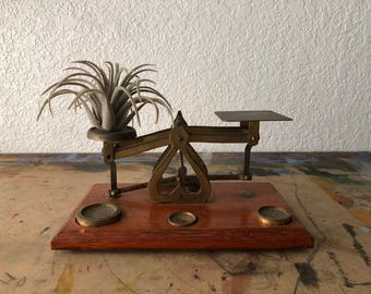 Antique Brass & Wood Postage Mail Scale