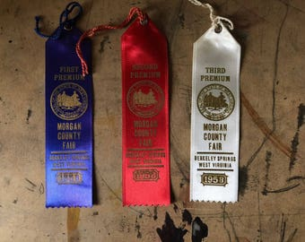 Prize Ribbon, 1958,  Cattle, Cows, First Prize, Blue Ribbon, Country Fair, Cottage Chic, West Virginia , Props