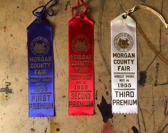 Prize Ribbon, 1955,  Cattle, Cows, First Prize, Blue Ribbon, Country Fair, Cottage Chic, West Virginia , Props