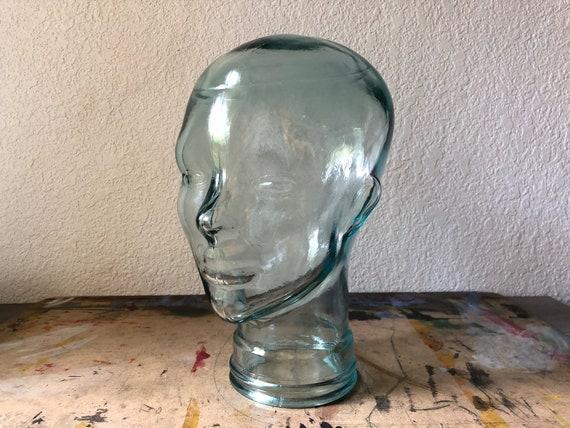 Vintage en verre, tête, verre clair Mannequin, Mannequin, Stand de chapeau, perruque Stand, milieu du siècle, bizarreries, curiosités, Avant Garde