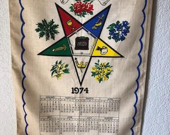 Vintage Linen Dish Towel 1974 Wall Calendar Old, Retro Kitchen, Movie prop, Year you were born,
