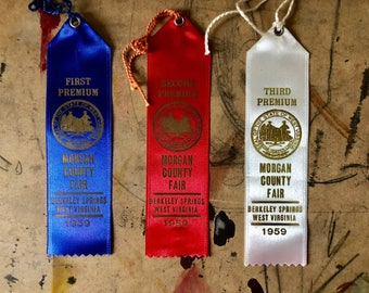 Prize Ribbon, 1959, Cattle, Cows, First Prize, Blue Ribbon, Country Fair, Cottage Chic, West Virginia , Props