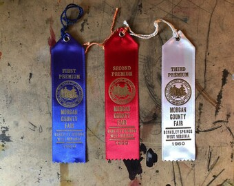 Prize Ribbon, 1960, Cattle, Cows, First Prize, Blue Ribbon, Country Fair, Cottage Chic, West Virginia , Props