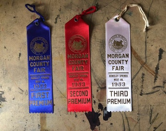 Prize Ribbon, 1953,  Cattle, Cows, First Prize, Blue Ribbon, Country Fair, Cottage Chic, West Virginia , Props