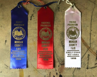 Prize Ribbon, 1956,  Cattle, Cows, First Prize, Blue Ribbon, Country Fair, Cottage Chic, West Virginia , Props