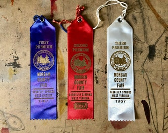 Prize Ribbon, 1957, Cattle, Cows, First Prize, Blue Ribbon, Country Fair, Cottage Chic, West Virginia , Props