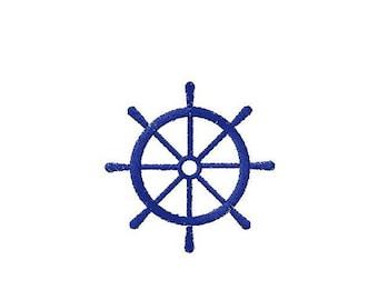 Machine embroidery design Redder Steering wheel Anchor Marine Navy