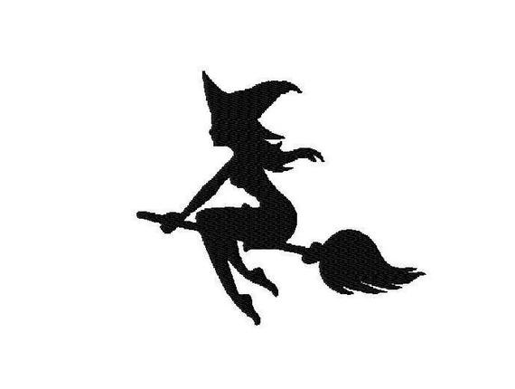 Machine Embroidery Designs Flying Witch Silhouette Etsy