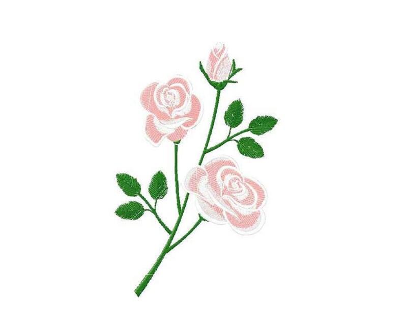 Disegno Di Ricamo Macchina Rosa Con Bocciolo Etsy