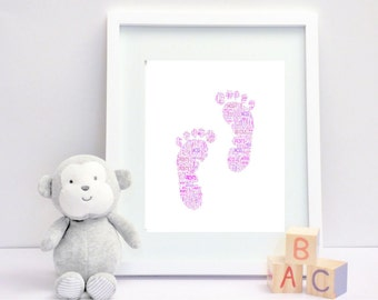 Baby footprints - Personalised Framed Print