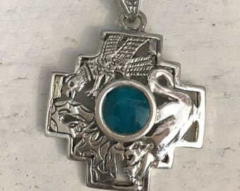 Inca cross jewelry 1000 jewelry box silver chakana pendant with stone condor puma snake jewelry inca cross symbol shaman aloadofball Images