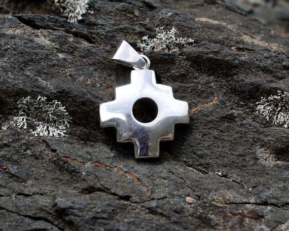 Silver chakana inca cross silver pendant peruvian handmade etsy image 0 aloadofball Images