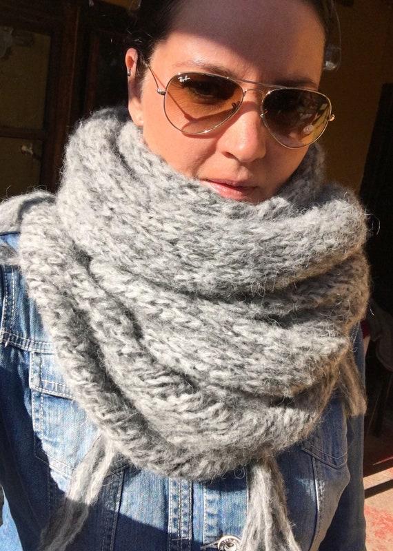 Alpaga Chunky écharpe en tricot femme - grosse écharpe - femme châle foulard  - Accessoires grand chaud - laine péruvienne ... 75c24b5afa1