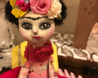 Ooak Frida Kahlo doll paperclay art doll