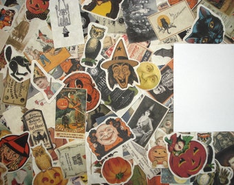 25 Vintage Halloween Ephemera Reproduction Fussy Cut Small Pieces Lot, Halloween Scrap Pack, Collage Media, Halloween ATCs, Greeting Cards